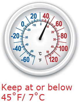 Keep refrigerated food at or below 45 degrees