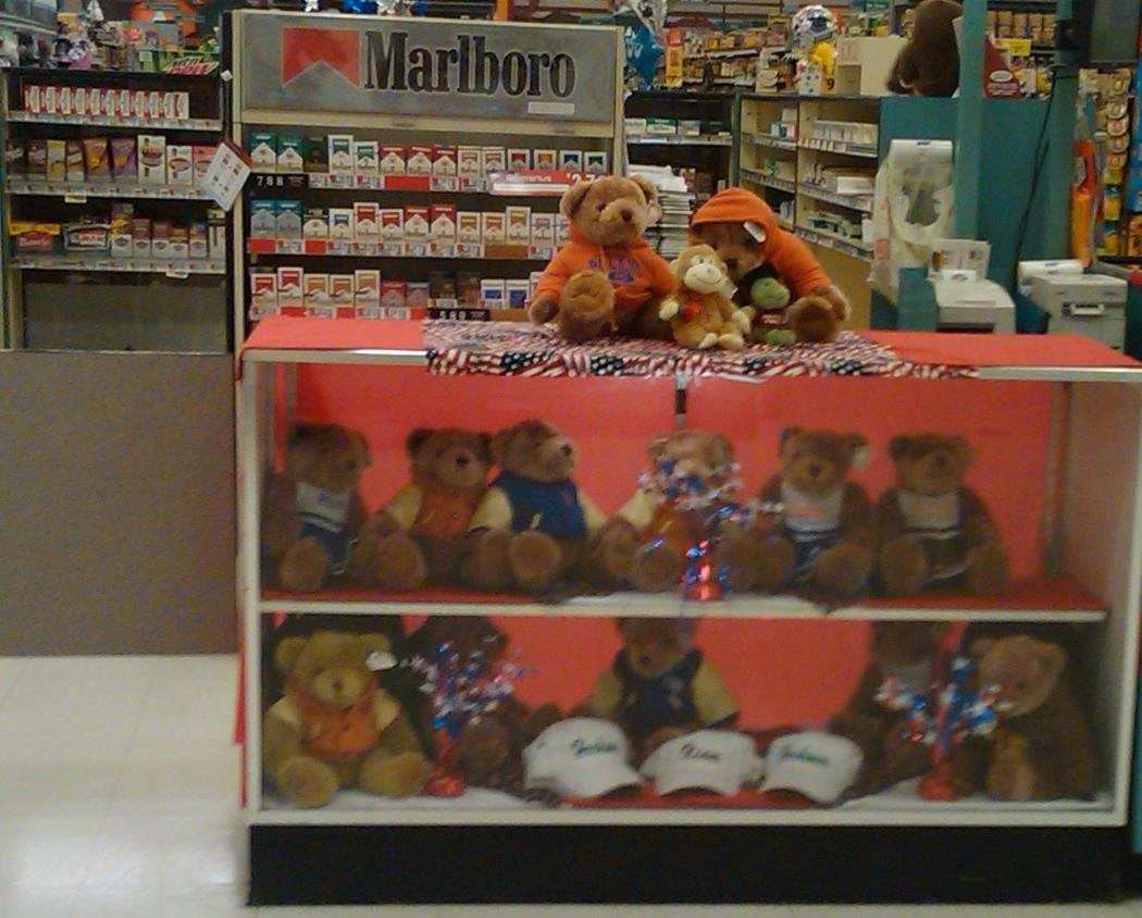 tobacco and teddy bear display