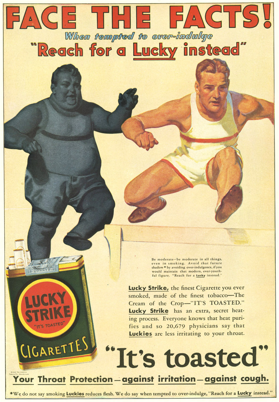 vintage ad for lucky strikes with runners