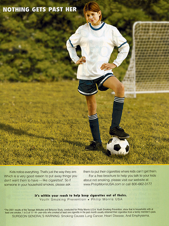 phillip morris ad with girl playing soccer