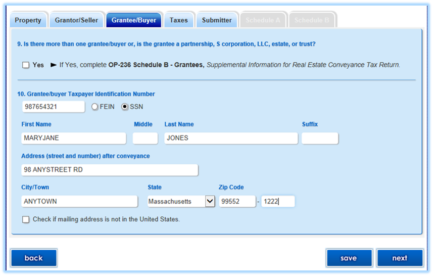 Grantee Buyer Screenshot