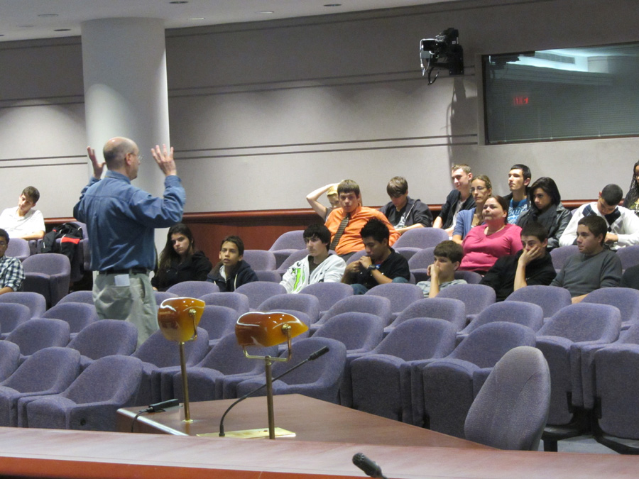 Photograph: Ken Keller explains how the polling process works during the Election Math breakout session