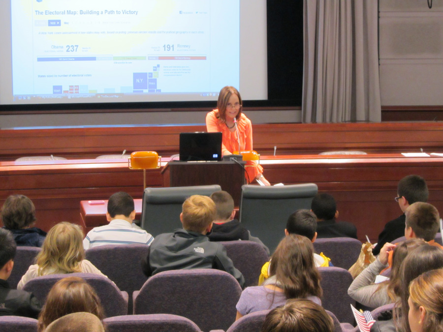 Photograph: Secretary Merrill welcomes students during opening remarks